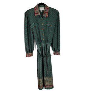 VTG 70s Schrader Secretary Belted Pleated Dress